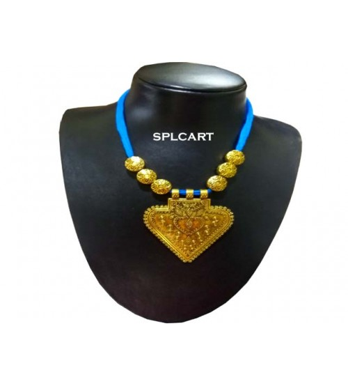 Splcart Cotton Dori With Triangle Antique Pendant Neckset (SkyBlue)